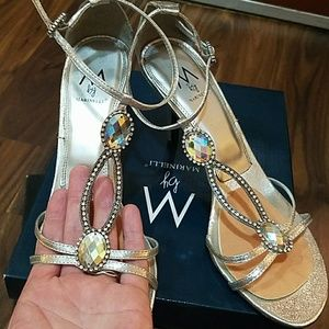 Marinelli Silver crystal shoes